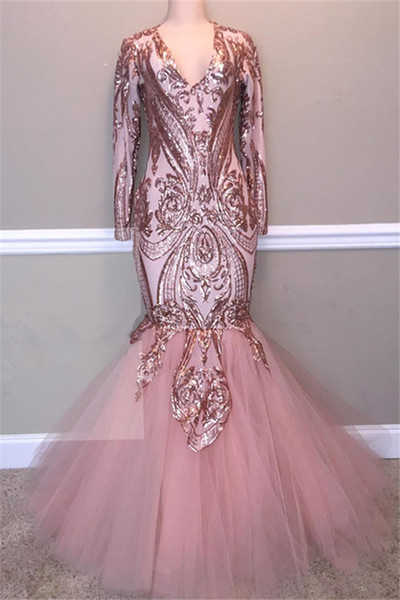 bd22d598783 2019 Blush Pink Sequined Mermaid Prom Dresses Sexy Shinny Long Sleeve Formal  Party Gown Plus Size Trumpet Pageant Dress Custom Made
