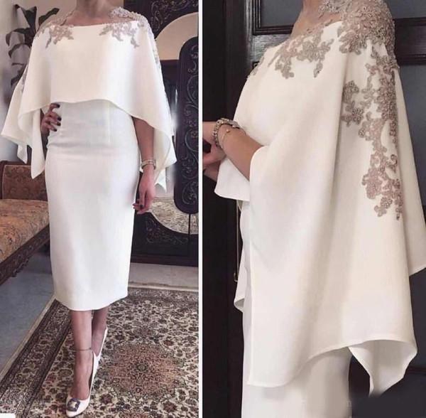 Meerjungfrau Mutter der Braut Kleider Jewel Neck grauer Spitze Applikationen Perlen mit Wrap Short Tee Länge Partyabend Hochzeitsgast Kleider