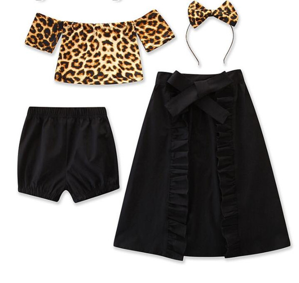 new baby for summer girls one-shoulder leopard T shirt + shorts + tuxedo skirt + headwear suit kids clothes 4pcs/set