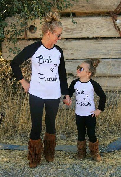 Aile Eşleştirme Pamuk Tee Gömlek Anne Veli-Çocuk anne kızı Uzun Kollu Tişört Üst