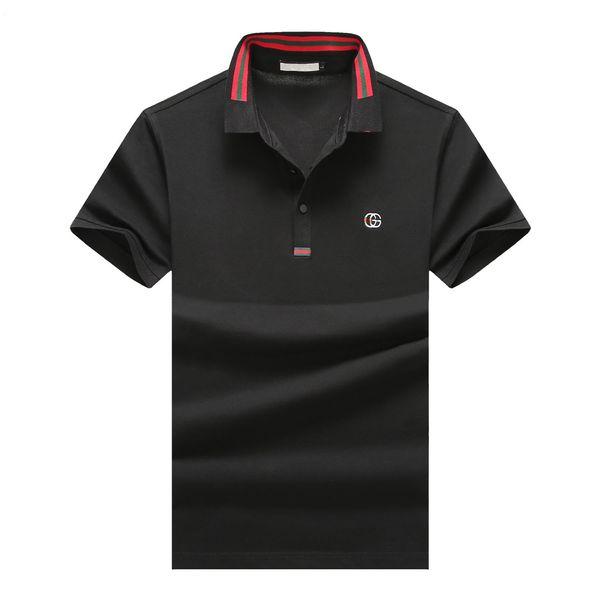 2020 de lujo italiana camisa a rayas camiseta del polo de los hombres de lujo rojo de la calle principal polo de la manera camiseta solapa rayas de los hombres de manga corta