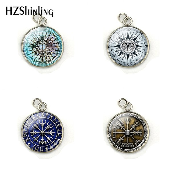2019 Vegvisir Viking Compass Glass Dome Charms Viking Compass Jewelry Pendant Glass Picture Stainless Steel Glass Necklace Pendants