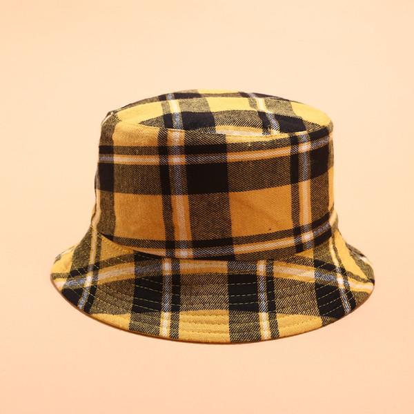 Coton double face Plaid Chapeau chapeau de pêcheur Voyage en plein air soleil casquette pour les femmes