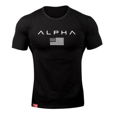 ALPHA Spor T Gömlek Erkekler Yaz Giyim Spor Salonu Spor Sıkı Erkek Egzersiz T-shirt Homme Kısa Kollu Slim Fit Pamuk Gömlek Kas Kardeşi