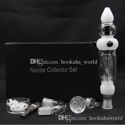 Nectar Collector 3.0 with Curved Glass Bowl GR2 Titanium Nail Honey Straw Glass Dish Quartz Nail Plastic Clip bongs water pipes NC3