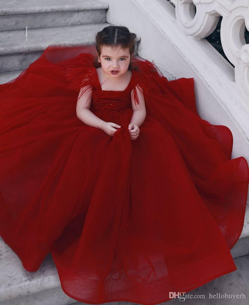 2019 Cheap Ball Gown Burgundy Tulle Princess First Holy Communion Little Girls Pageant Dresses for Wedding Kids Free Shipping