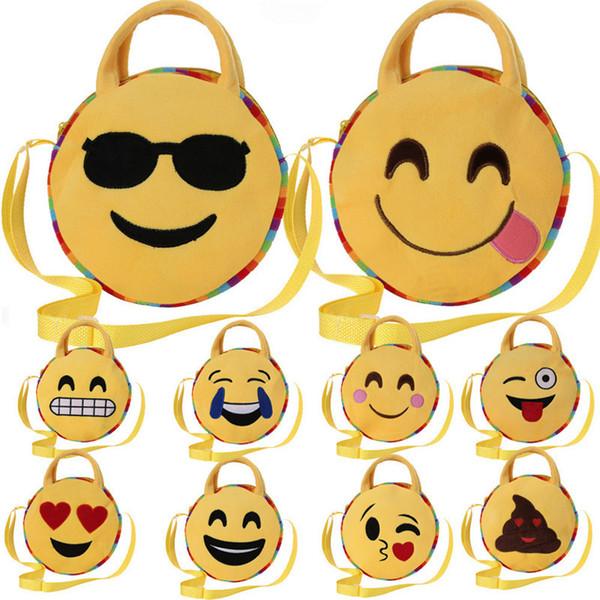 25CM kids Handbag Emoji Expression school backpack Girls boys Round Crossbody Bags Kawaii Yellow Casual Bags Satchel Rucksack for candy