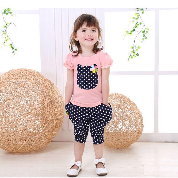 хорошо qulaity 2019 девочки одежда комплект младенческой лето хлопок одежда для новорожденных девочек футболки+брюки 2шт костюм набор костюмы