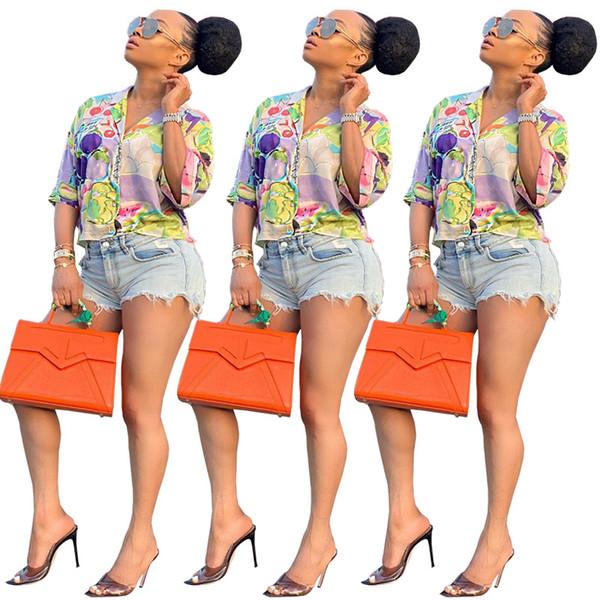 Mulheres Blusas Camisas botão de lapela pescoço 1/2 cap manga com decote em v impressão figura de frutas contraste cor dos desenhos animados moda roupas de verão 481