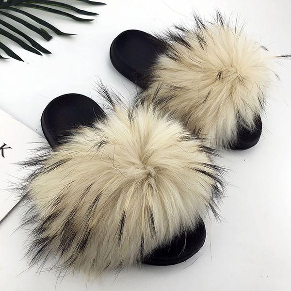 Raton laveur slippers_29 fourrure