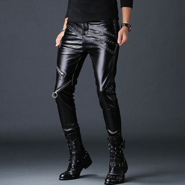Hot Classic Men/'s Slim Fit Skinny PU Leather Motorcycle Pencil Pants Trousers #