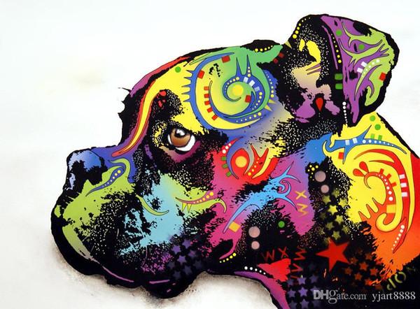 YJ ART boxer Art Moderne Sans Cadre Mur Art de La Toile pour la Maison et La Décoration De Bureau, Peinture à L'huile, Peinture Animale