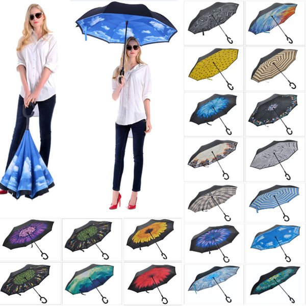 C Handle Folding Reverse Umbrella Double Layer Umbrellas Inverted Long Handle Windproof Rain Car Umbrellas HH7-1950