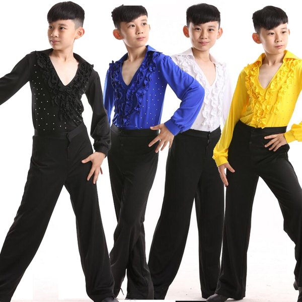 latin salsa dance costume male children's ballroom performing party dance costume + pants latin american, Black;red
