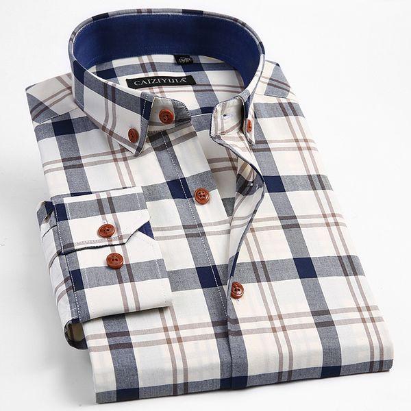 100% algodón de manga larga camisa de vestir a cuadros de contraste hombre elegante casual Tops Slim Fit ajustable puff Button Down Shirts J190422