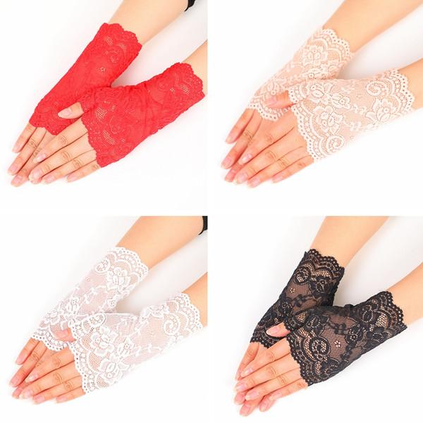Creativo pizzo semi dito guanti all'aperto donna estate guida anti UV sottile pizzo tinta unita moda guanto TTA858