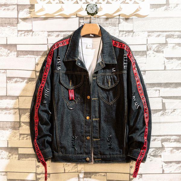 Güzel Denim Ceket Erkekler Patchwork Altın Şerit Kovboy Punk Rock Erkekler Ceket Yüksek Sokak Moda Giyim Ceket Güzel Sonbahar