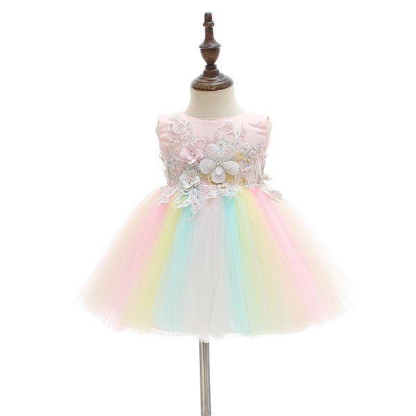 Sweet Babies Girls Tutu Lace Sequins Dresses Party Dress Sleeveless Embroidered Flower Western Fashion Casual Dress
