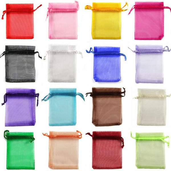 200pcs/lot 5x7cm Small Size Colorful Organza Bag Little Drawstring Pouches For Jewellery Necklace Ring Bags Jewelry Gift Pouch