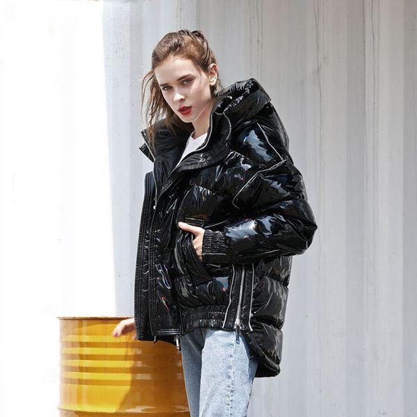 Serie pato abajo de la chaqueta de las mujeres de invierno con capucha Parka Pareja Moda suelta brillante Escudo Negro láser hacia abajo caliente