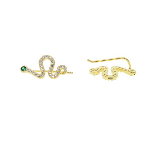 Sevimli hayvan küpe mikro açacağı cz yılan kulak tırmanıcı kadınlar için süpürme küpe narin dainty cz yılan çıtçıt