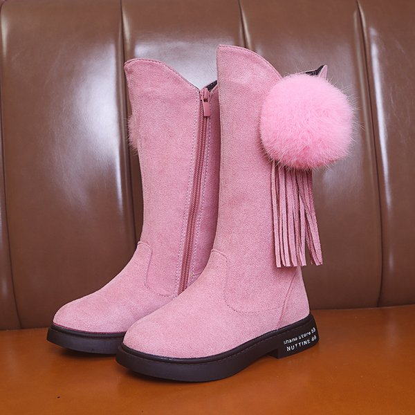 Pink Winter Fashion Rubber Boots For Girls Tassels Long Kids Boots Children  Knee High Warm Cotton Soft Back Tied Pink Childrens Boots Brown Boots For