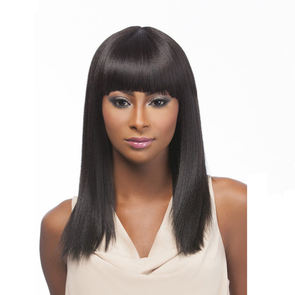 Natural Straight Full/Front Lace Long Peruvian Virgin Human Hair Wig Glueless Bangs Bleached Knots For Black Women