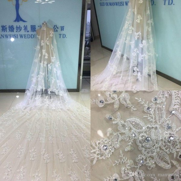 Luxury Bridal Veils Cathedral Length With Free Comb 5 M Long White Ivory Lace Applique Beads Crystal Wedding