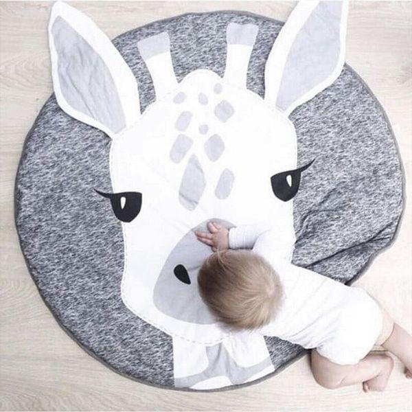 Kids Play Game Mats Round Carpet Rugs Cotton Animals Blankets Newborn Infant Crawling Blanket Floor Carpet Baby Girls Room Decor