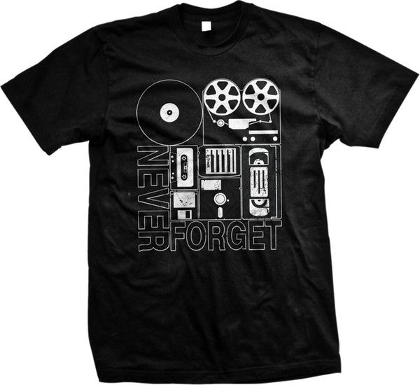 Nunca Esqueça Old School Eletrônica VHS Cassette Floppy Disc Record Mens Tshirt Das Mulheres Dos Homens Unisex Moda tshirt Frete Grátis preto