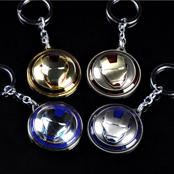 10pcs/lot Jewelry Movie Souvenir Iron Man Mask Keychain Rotatable Round 4 Colors Key Chain Chaveiro for Fans Llaveros