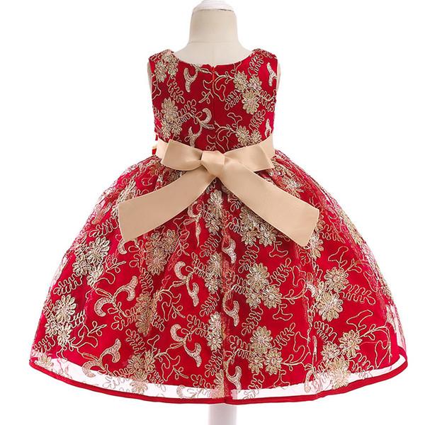 Kinder Kleid Goldfaden bestickt Kanonika Prinzessin Kleid Blume gewebt Gürtel Qualität Kinder Kleid