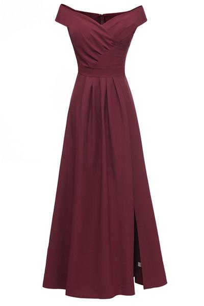 2019 novo one-ombro de cetim de cetim de fenda vestido de noite magro vestidos de dama de honra estilo retro na Europa e América mostram fina