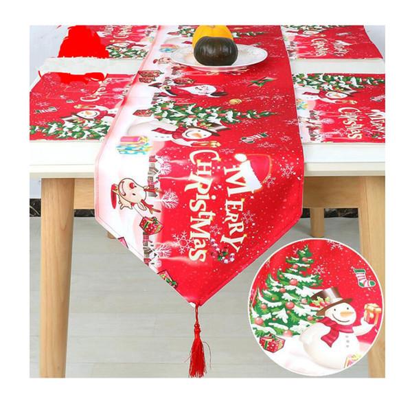 Işlemeli Noel Masa Koşucular 180 * 35 cm Geyik Noel Ağacı Masa Koşucu kumaş Kapak için parti Ev Yeni Yıl Dekorasyon
