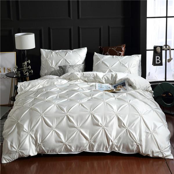 Luxo branco 100% Super Macio Washed Sólida Capa de Edredão Set 3 Pçs / set Pinch Plissado Breve Conjuntos de Cama Queen Size Rei