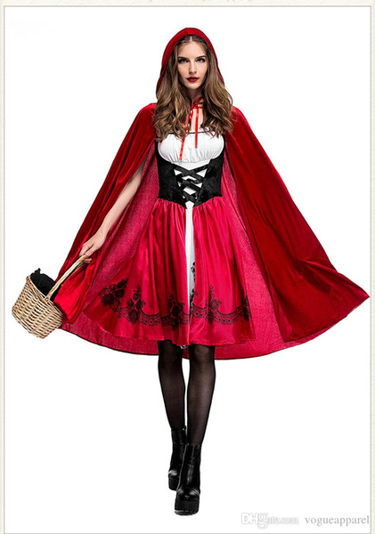 Halloween Costumes Women Clothes Little Red Riding Hood Cosplay Red Dresses Hooded Cape 1 Set Free Shipping