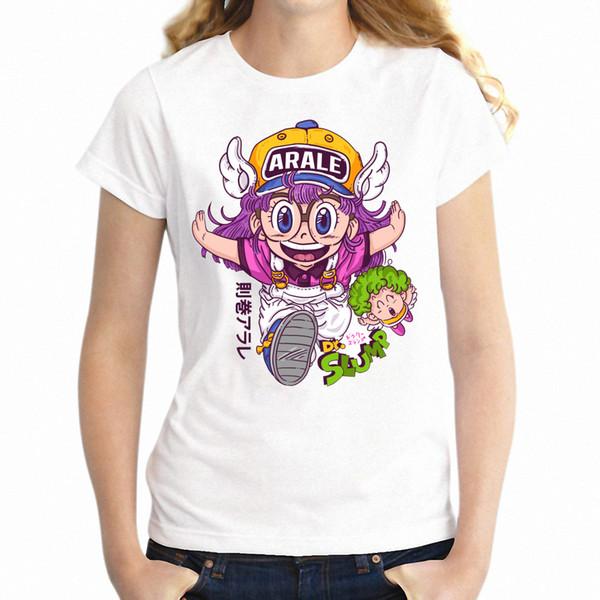 2018 Новое поступление летом мода Женская футболка Arale аниме тенниска женщин Harajuku вскользь 100% хлопок милые женщины топы