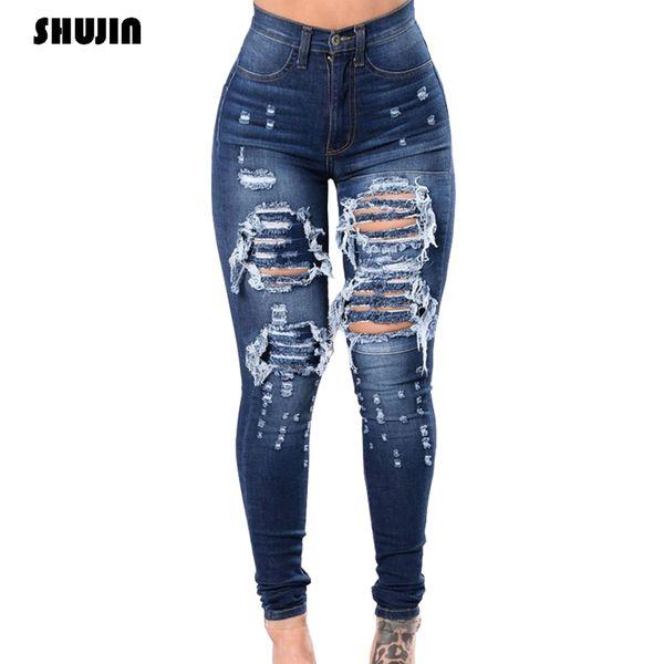 Shujin femmes Casual Ultra Jeans Femme Élastique Ripped Pantalons Denim Pantalons Crayon Skinny Jeans 2020