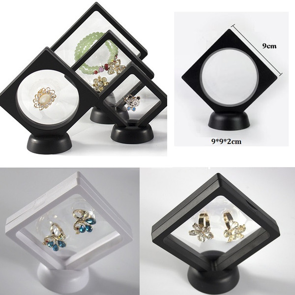 Jewelry Ring Pendant Display Stand Suspended Floating Display Case Jewellery Coins Gems Artefacts Stand Holder Box For Women white black