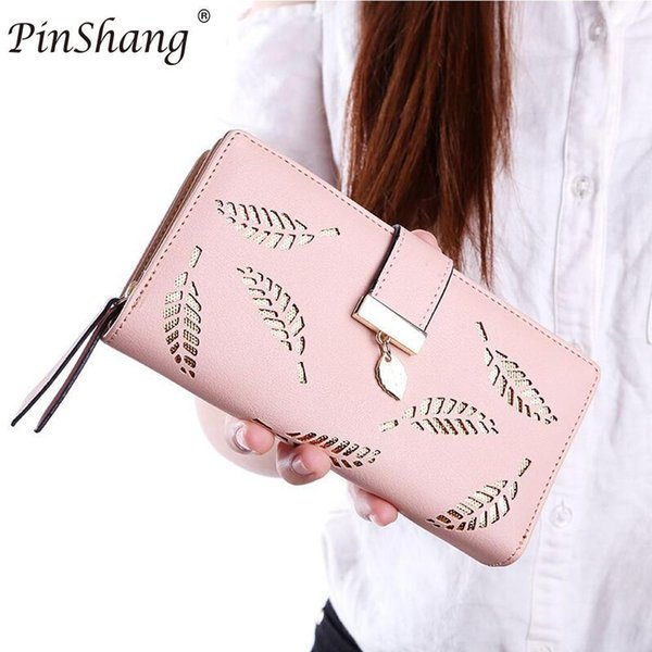 Women Wallet Purse Female Long Wallet Gold Hollow Leaves Pouch Handbag For Women Casual Coin Purse Card Holders Zk30