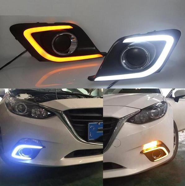1 Paar DRL Für Mazda 3 Mazda3 Axela 2014 2016 Tagfahrlicht-Nebelscheinwerferabdeckung mit gelbem Signal Tageslicht