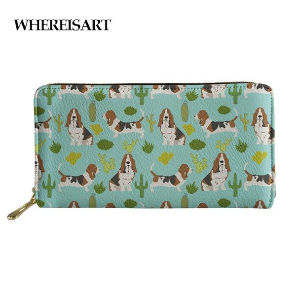WHEREISART Purse Wallet Women Basset Hound Mint Cactus Sweet Pet Dog Summer Tropical Trendy Design Plants Coin Carteira Clutch
