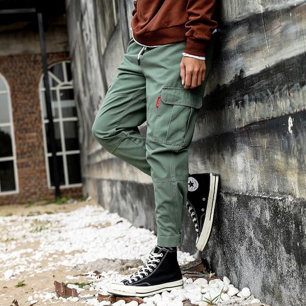 Frühling Männer Baumwolle Schwarz Joggers Hosen 2019 Herbst Herren Große Taschen Ankel Cargohose Männlichen Herbst Streetwear Overalls Jogginghose