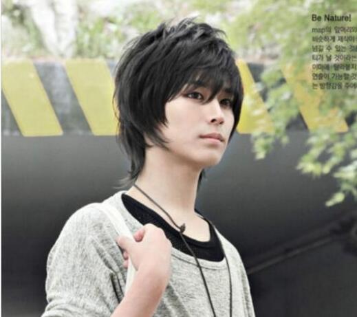 ÜCRETSIZ KARGO + Yakışıklı Erkek Peruk Yeni Kore Moda Kısa Erkekler Doğal Siyah Saç Cosplay Peruk