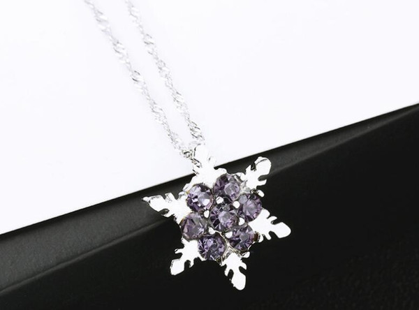Crystal Snow Pendant Necklace Rhinestone Silver plated Charm Sweater Chain best Jewelry gifts for woman/man