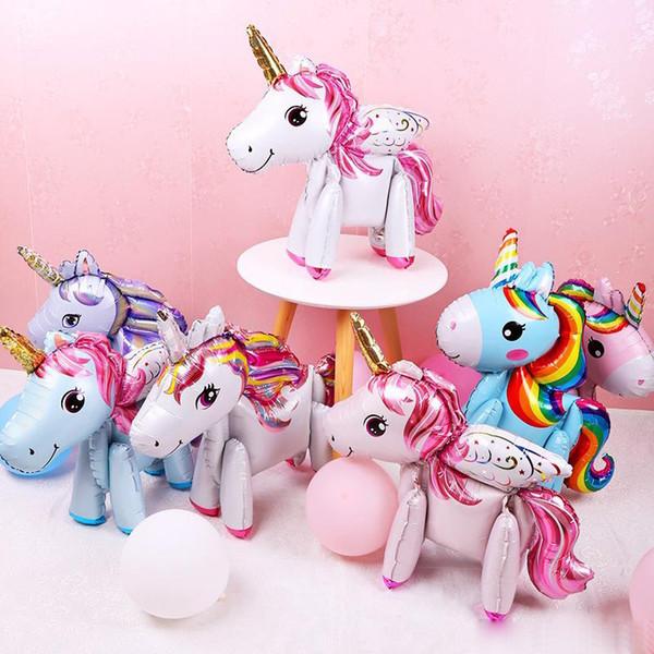 3D DIY niedlichen Regenbogen Einhorn Folienballons rosa blau lila Einhorn Stand Luftballons Hochzeit Geburtstag Party Decor Kinder Spielzeug