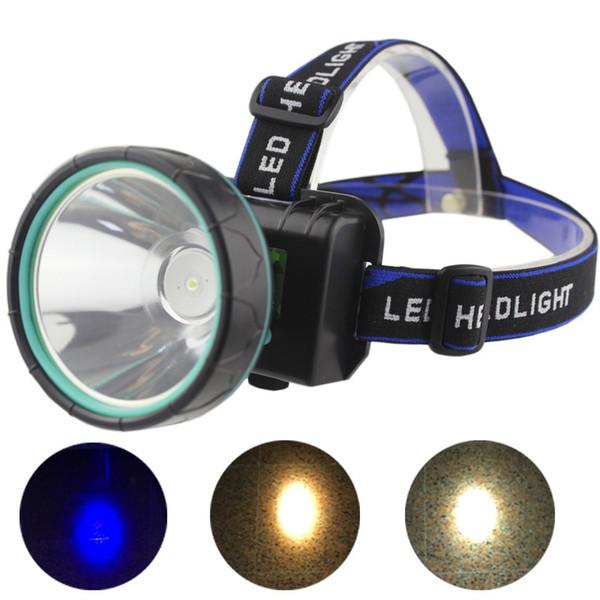 Ultra brillante a prueba de lluvia LED faro faro 35 W Ahorro de energía lámpara de la lámpara de la antorcha blanca azul luz impermeable pesca caza faro