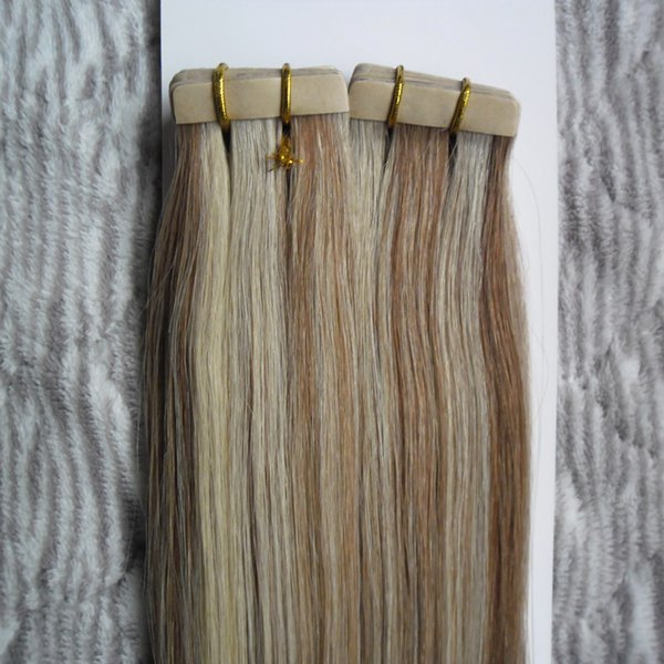 """16"""" 18"""" 20"""" 22"""" 24"""" Skin Weft Human Hair Straight 40pcs Tape In Extension Non-Remy Hair Double Sided Tape Hair P8/613"""