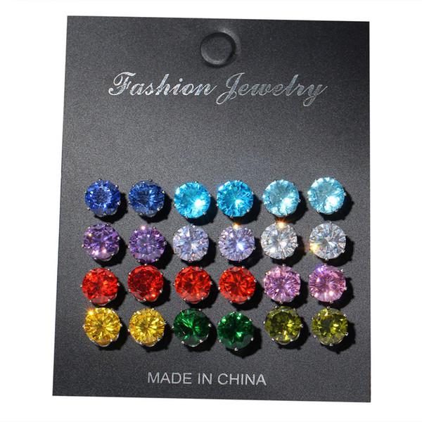 Hot Sale 12 month Birthday Stones Zircon Piercing Earrings Ladies Jewelry 12 Birthstone CZ Stud Women Romantic Gifts