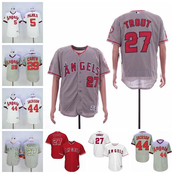 Erkek Los Angeles Albert Pujols Jersey Melekler Mike Alabalık Çubuk Carew Reggie Jackson Kole Calhoun Beyzbol Formalar Carew